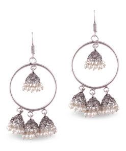 Faux Pearl Quadruple Jhumkas Earrings