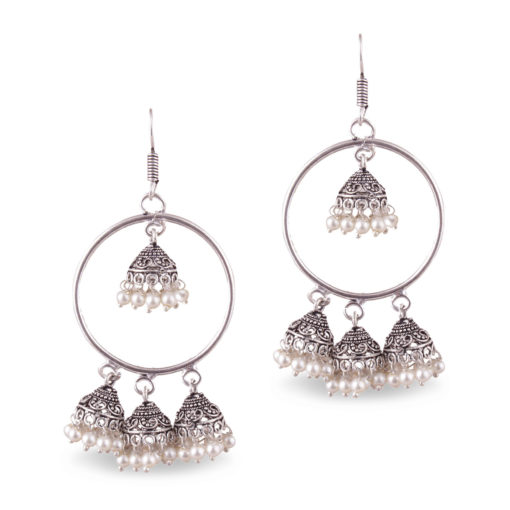 Faux Pearl Quadruple Jhumkas Earrings