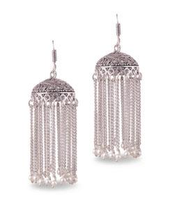 Faux Pearl Silver Chain Jhumkas Earrings