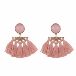 Faux Pink Pearl and Tassel earrings 01