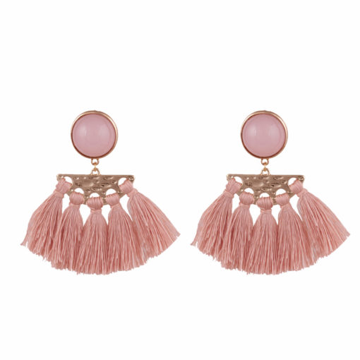 Faux Pink Pearl and Tassel earrings 01