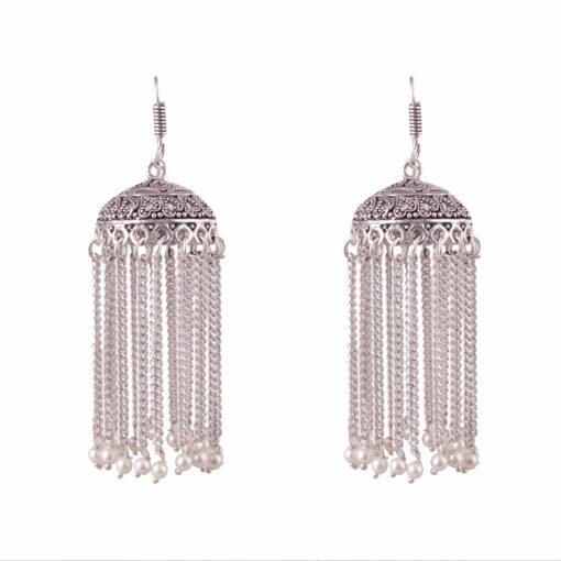 Faux pearl silver chain jhumkas Earrings 01