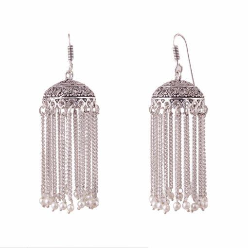 Faux pearl silver chain jhumkas Earrings 02