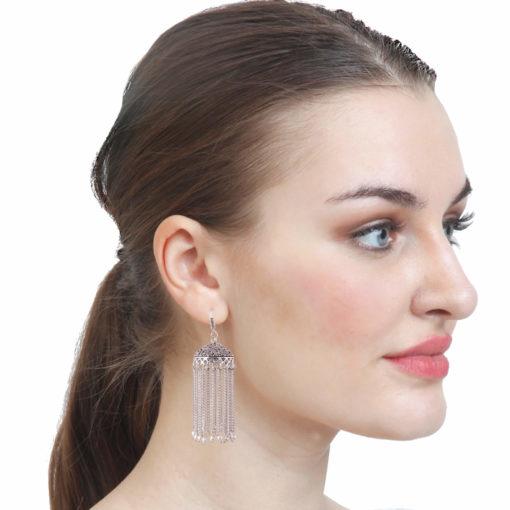 Faux pearl silver chain jhumkas Earrings 03