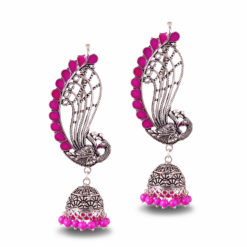 Fuchsia Fusion Jhumka Earrings