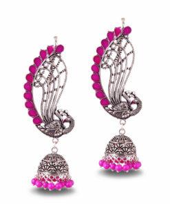 Fuchsia Fusion Jhumka Earrings