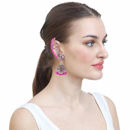 Fuchsia Fusion Jhumka Earrings m03