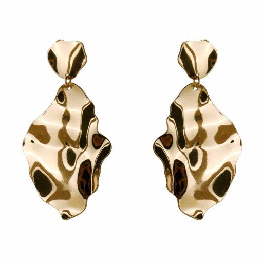 Molten Golden Leaf Earrings 01