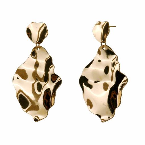 Molten Golden Leaf Earrings 02