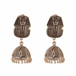 Oxidised Egyptian Sphynx Jhumkas Earrings 01