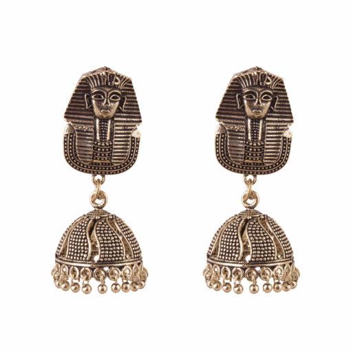 Oxidised Egyptian Sphynx Jhumkas Earrings 01