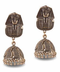 Oxidised Egyptian Sphynx Jhumkas Earrings