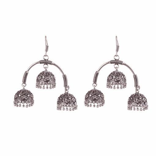 Oxidised Silver Triple Jhumkas Earrings 01