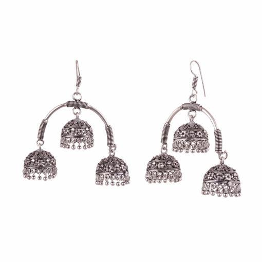 Oxidised Silver Triple Jhumkas Earrings 02