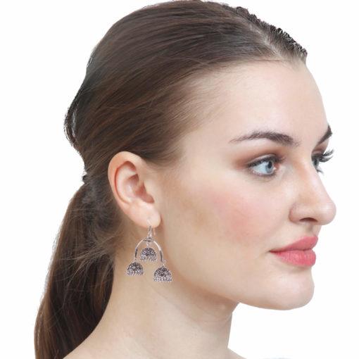 Oxidised Silver Triple Jhumkas Earrings 03