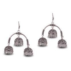 Oxidised Silver Triple Jhumkas Earrings