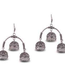 Oxidised Silver Triple Jhumkas Earrings