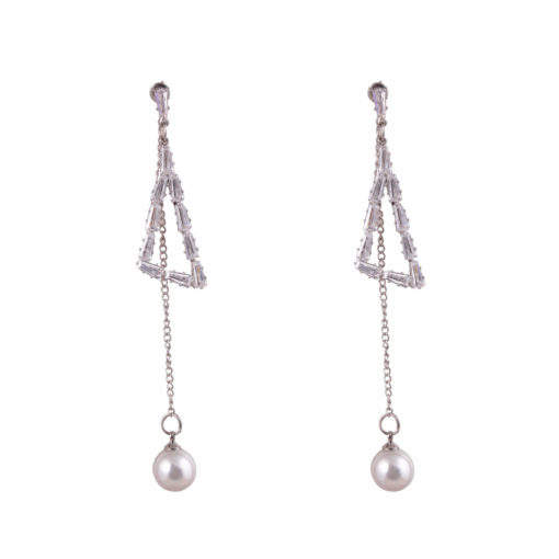 Pearl and Stone Silver Triangles Earrings 01