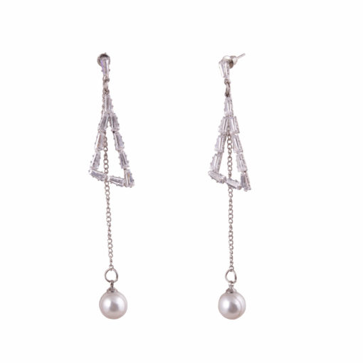 Pearl and Stone Silver Triangles Earrings 03