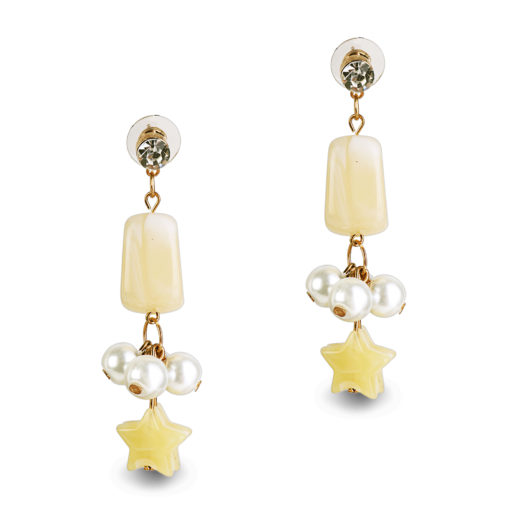 Pearls and Stars Earrings – Yellow