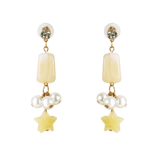 Pearls and Stars Yellow Earrings 01