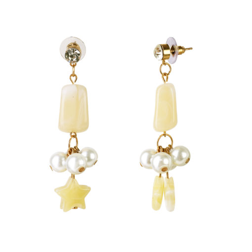 Pearls and Stars Yellow Earrings 02