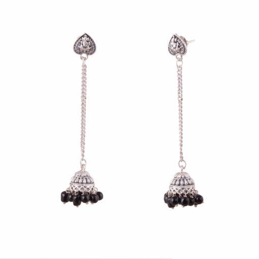 Silver Chain Heart Jhumkas Earrings 03