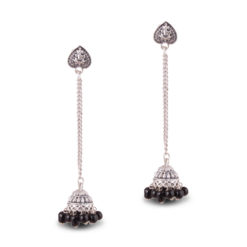 Silver Chain Heart Jhumkas Earrings