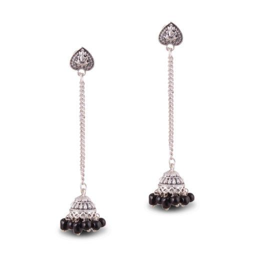 Silver Chain Heart Jhumkas Earrings
