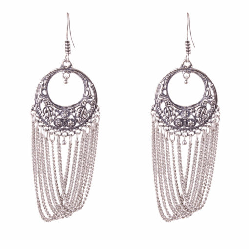 Silver Chains with Carved Rounds Earrings 01