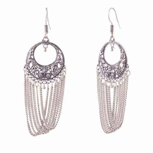 Silver Chains with Carved Rounds Earrings 02