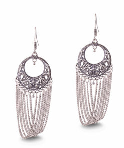 Silver Chains with Carved Rounds Earrings