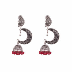 Silver Moon with Red Beads Earrings 01