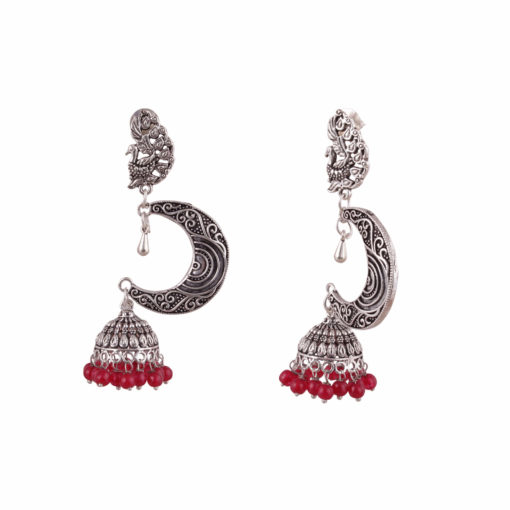 Silver Moon with Red Beads Earrings 03