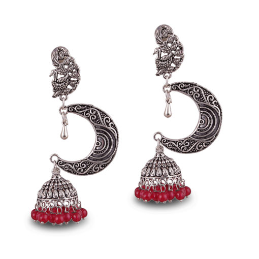 Silver Moon with Red Beads Earrings