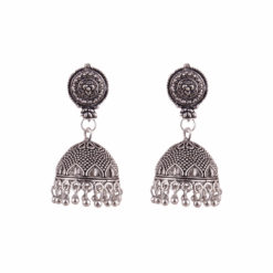Silver jaali work jhumka Earrings 01
