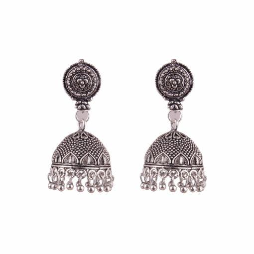 Silver jaali work jhumka Earrings 01
