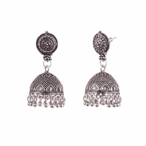Silver jaali work jhumka Earrings 02