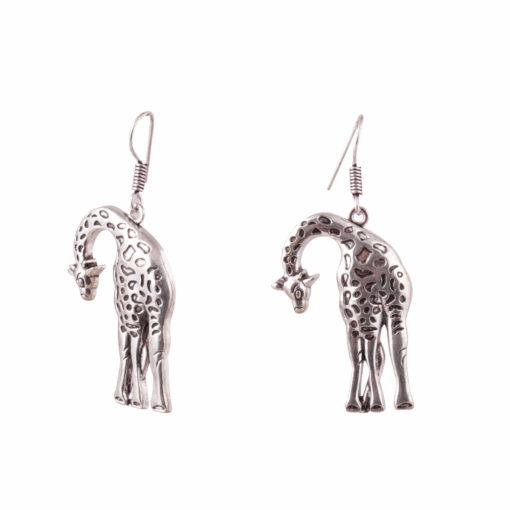 Stooping Silver Giraffe Earrings 01