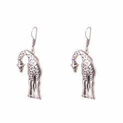 Stooping Silver Giraffe Earrings 02