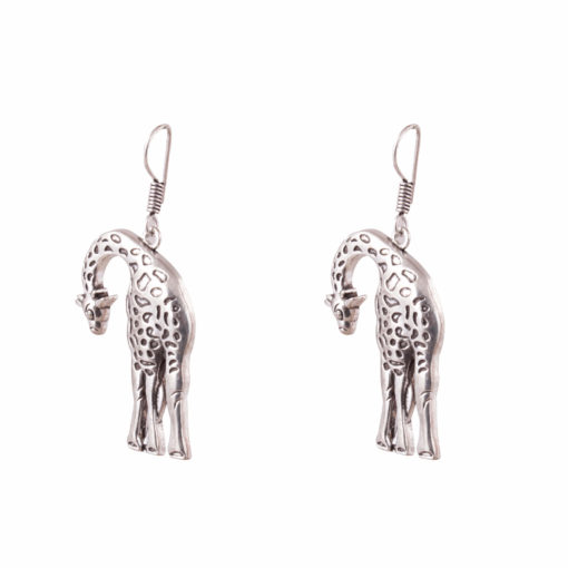 Stooping Silver Giraffe Earrings 02