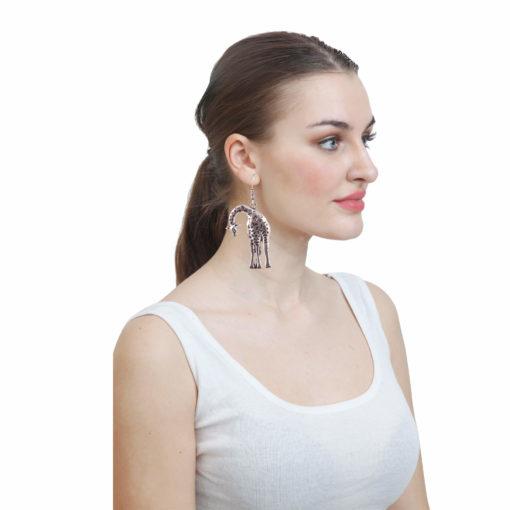 Stooping Silver Giraffe Earrings 03
