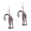 Stooping Silver Giraffe Earrings
