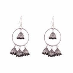 Unique Hoops with Black Jhumka Earrings 01