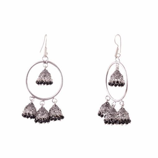 Unique Hoops with Black Jhumka Earrings 02