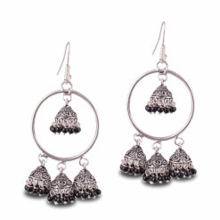 Unique Hoops with Black Jhumka Earrings