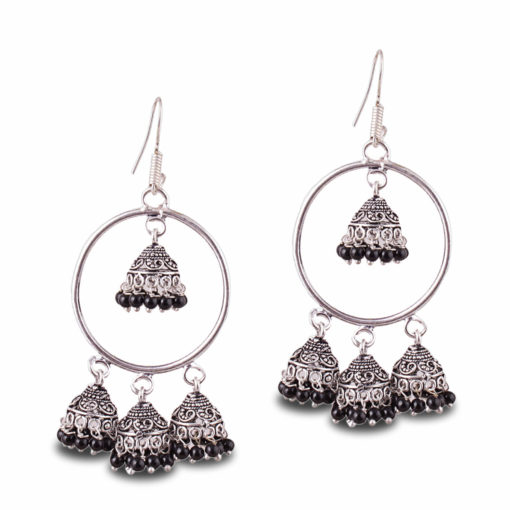 Unique Hoops with Black Jhumka Earrings