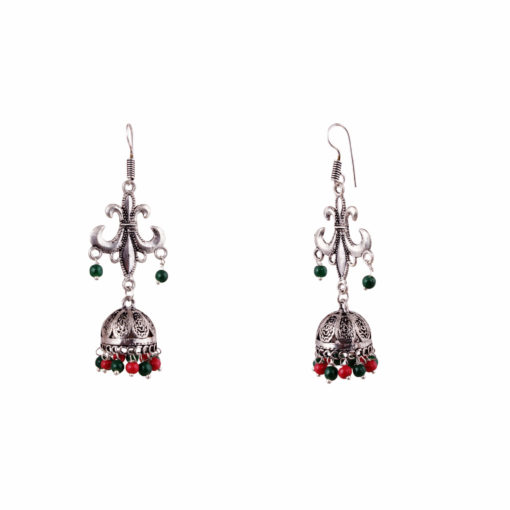 Antique Multicoloured Silver Jhumkis Earrings 02