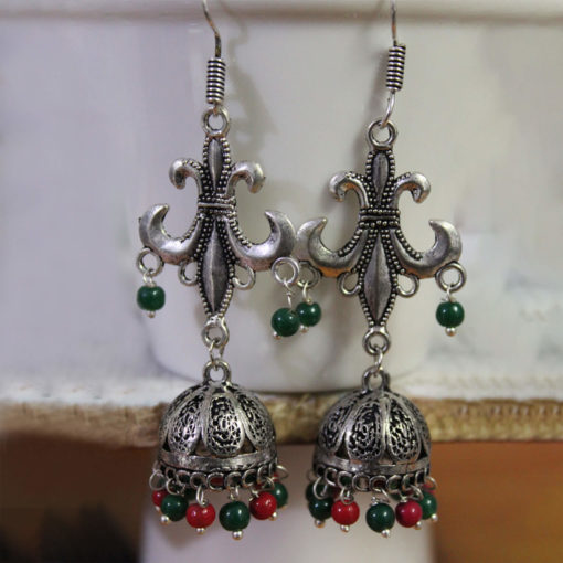 Antique Multicoloured Silver Jhumkis Earrings
