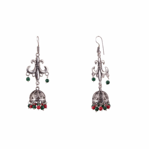 Antique multicoloured silver jhumkis Earrings 01